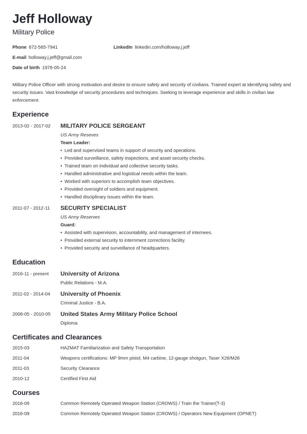 military resume template minimo