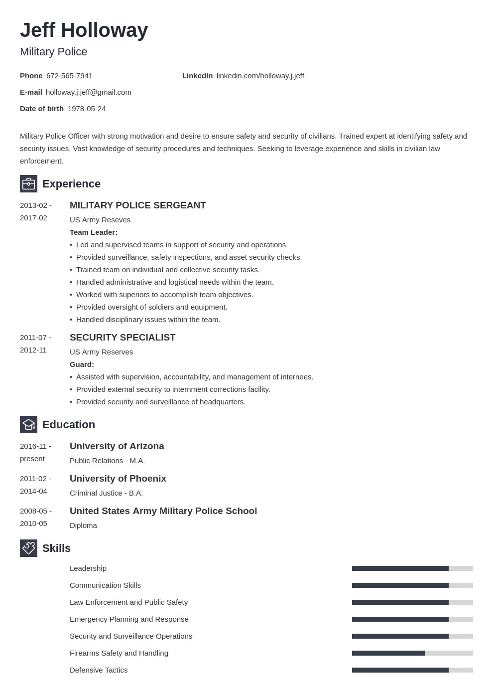 military resume template newcast