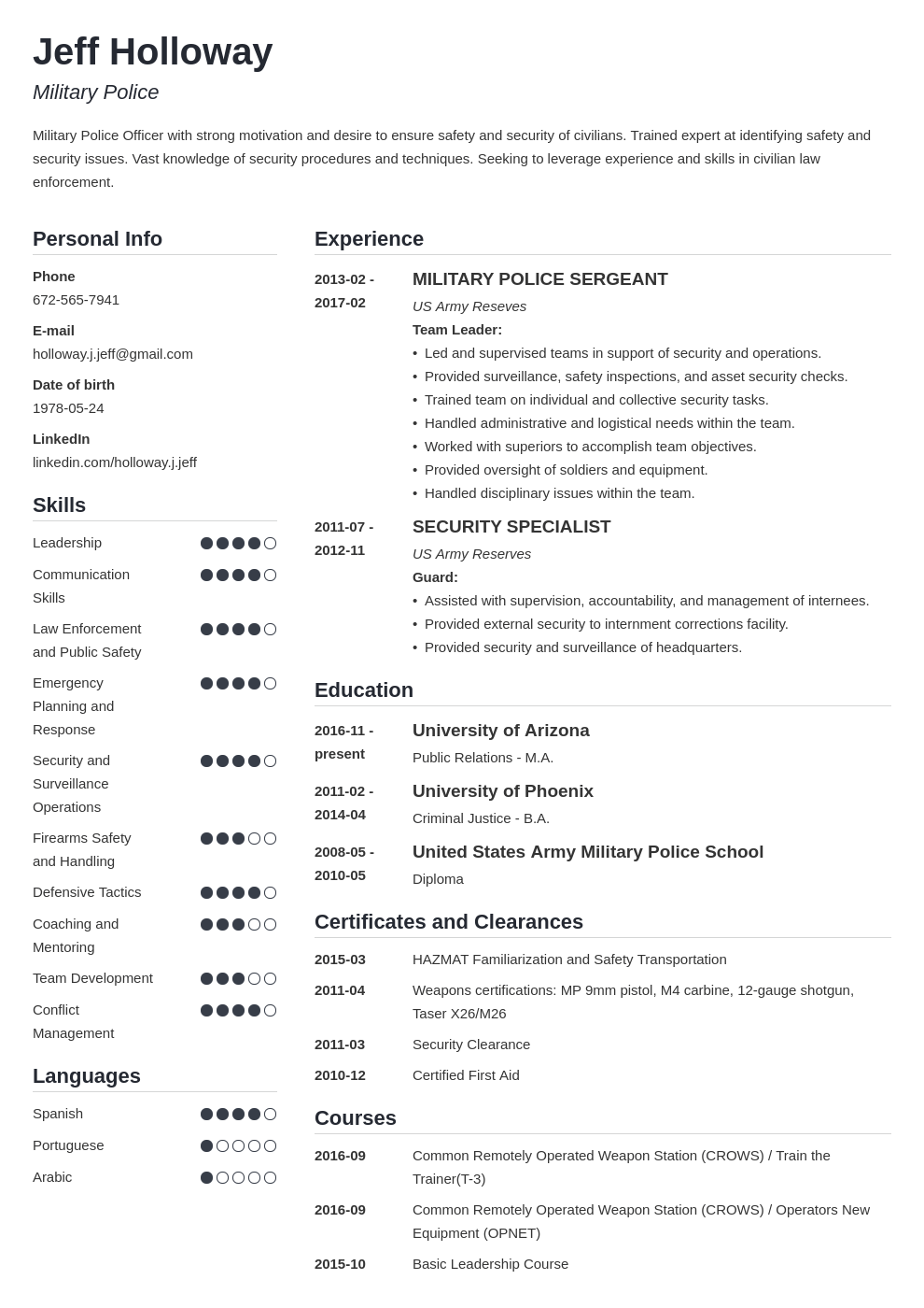 military resume template simple