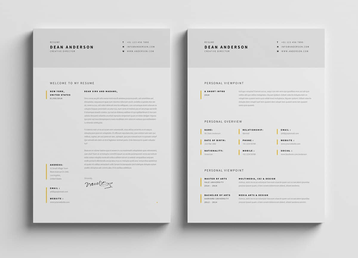 15  minimalist resume templates  clean  u0026 sleek design