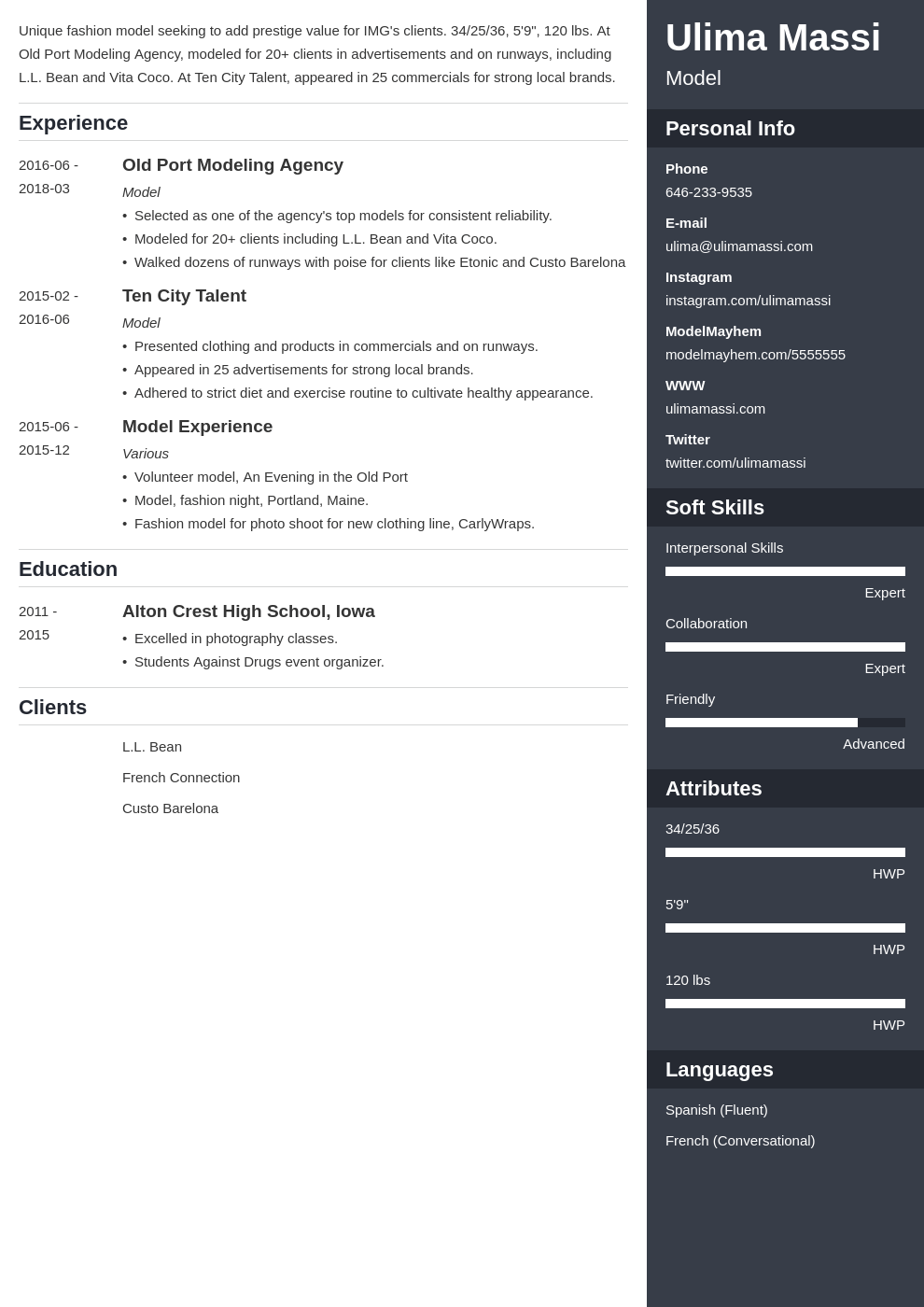 model resume example template enfold