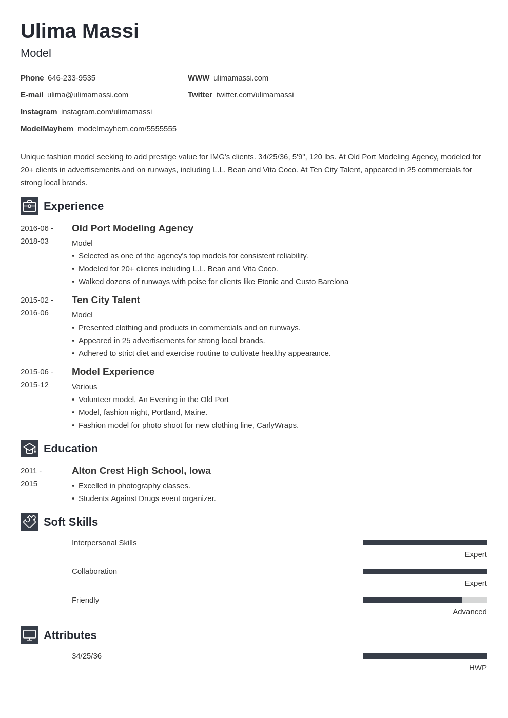 model resume example template newcast