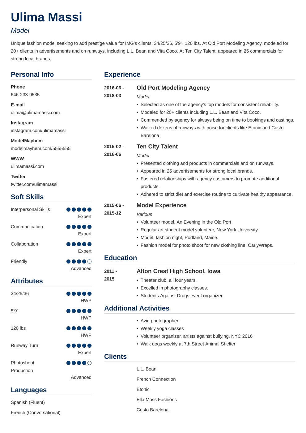Model Resume Sample Guide 20 Modeling Examples