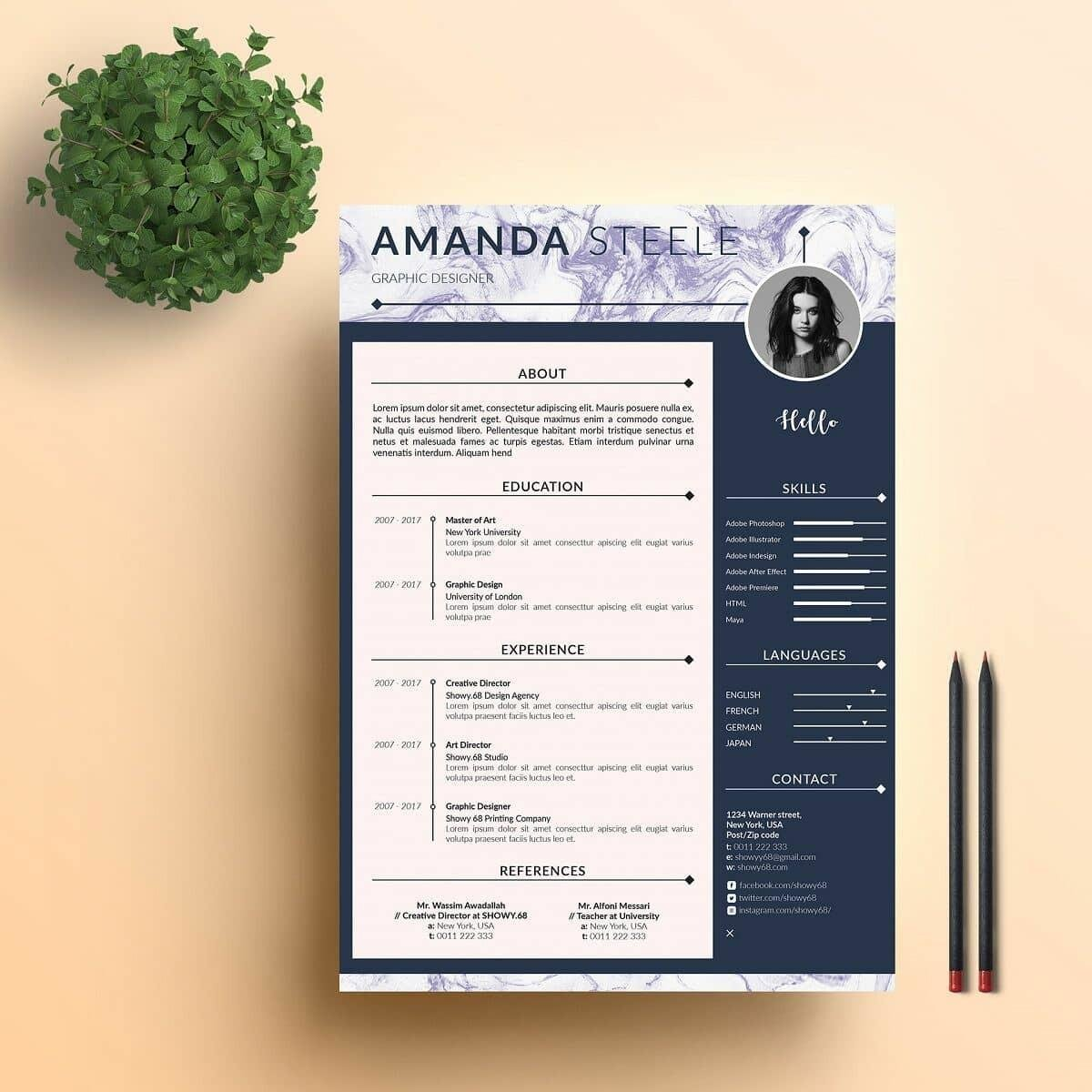 modern looking resume with marble header