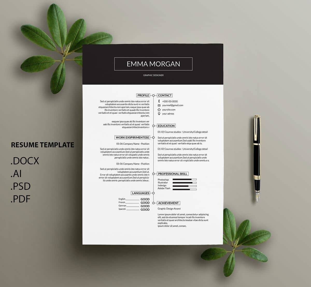 black and white modern resume example