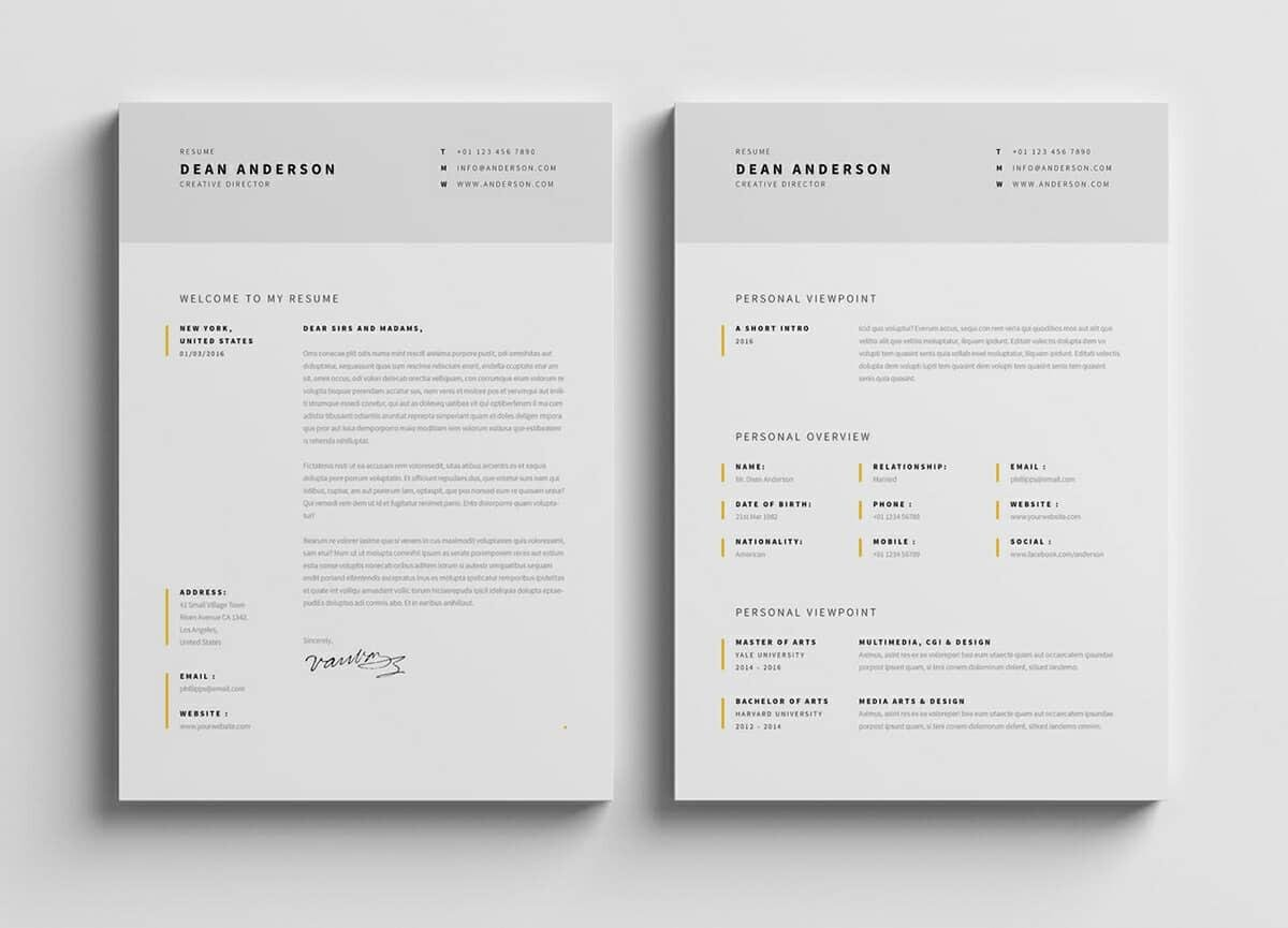 two modern resume samples