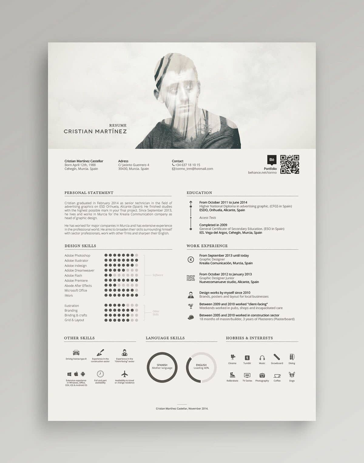example of modern resume with photo