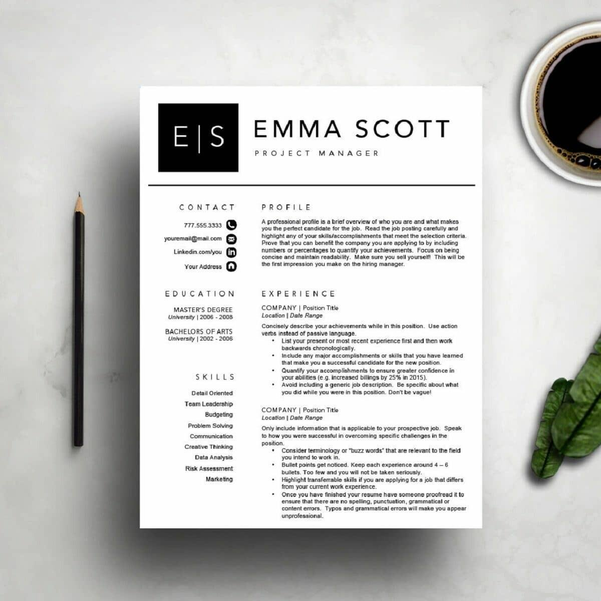 modern day resume with initials