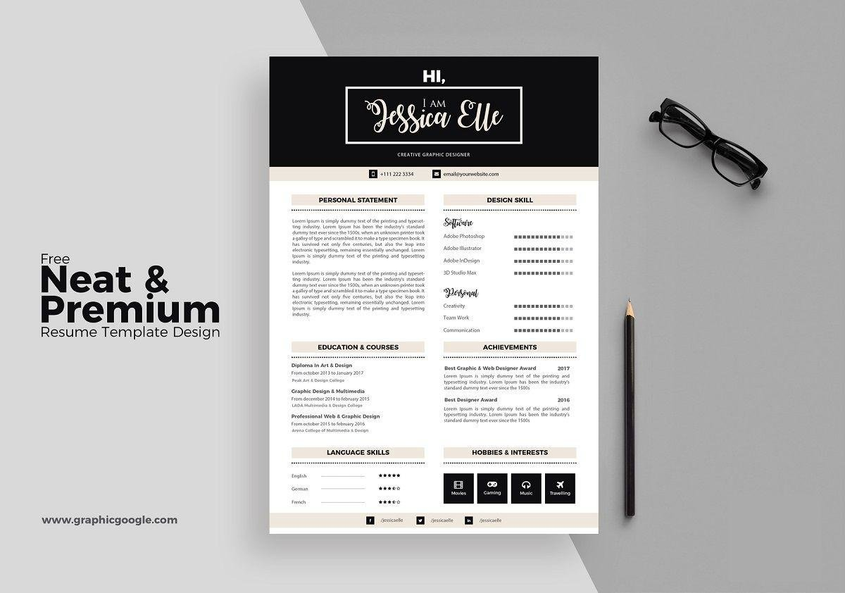 Free Modern Resume Template With Bold Font