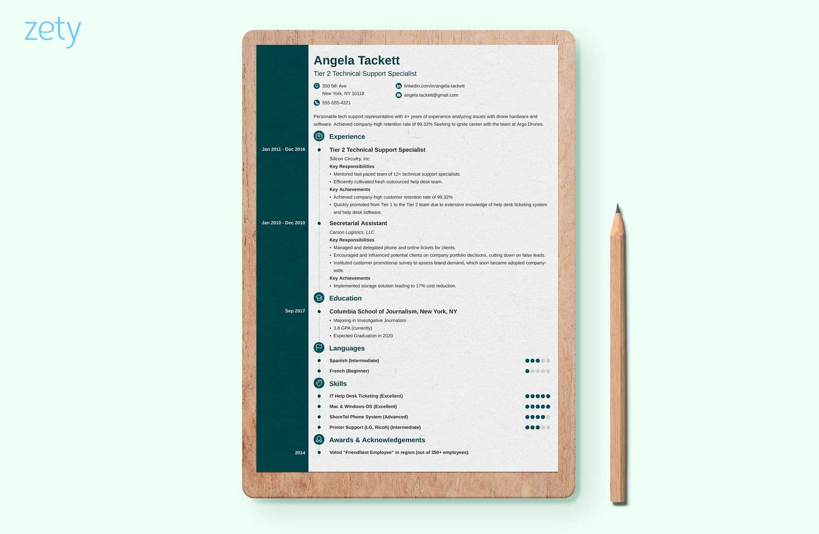 modern resume leaning against the wall