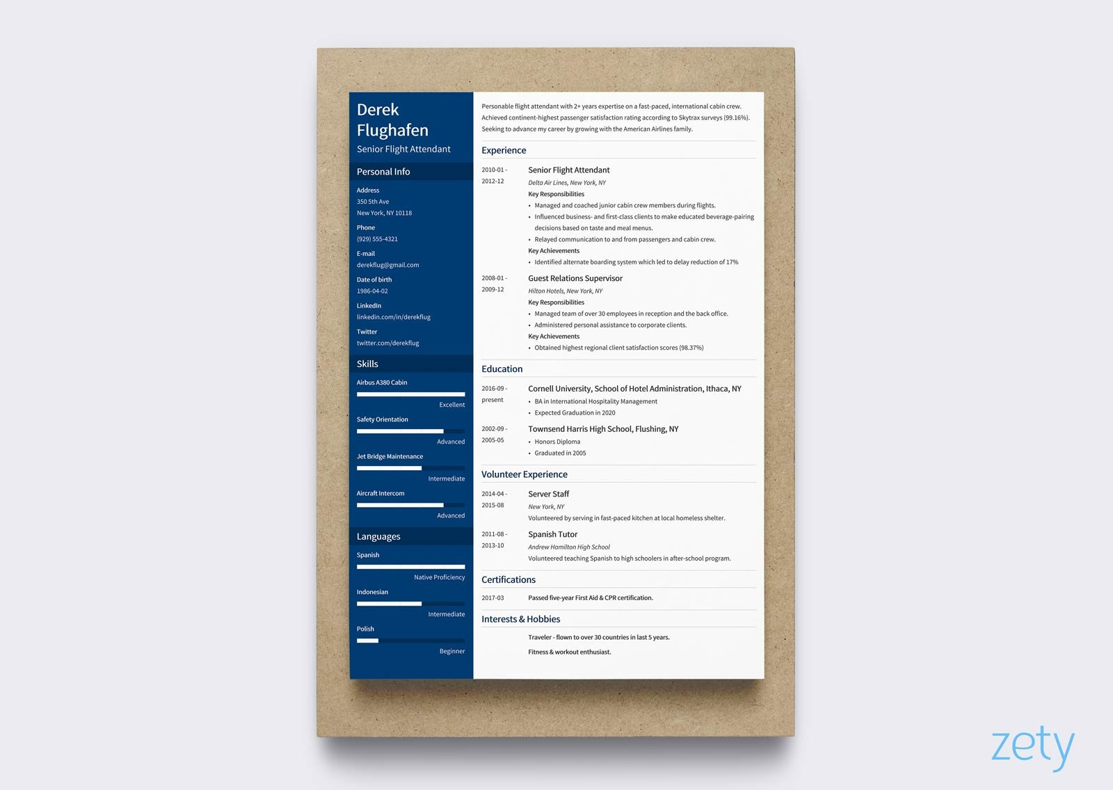 flight attendant modern resume