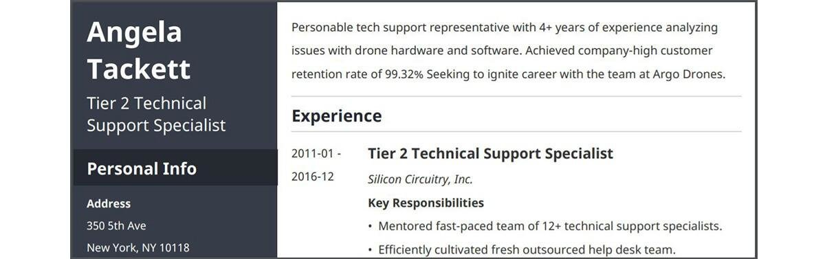 modern resume example from Zety