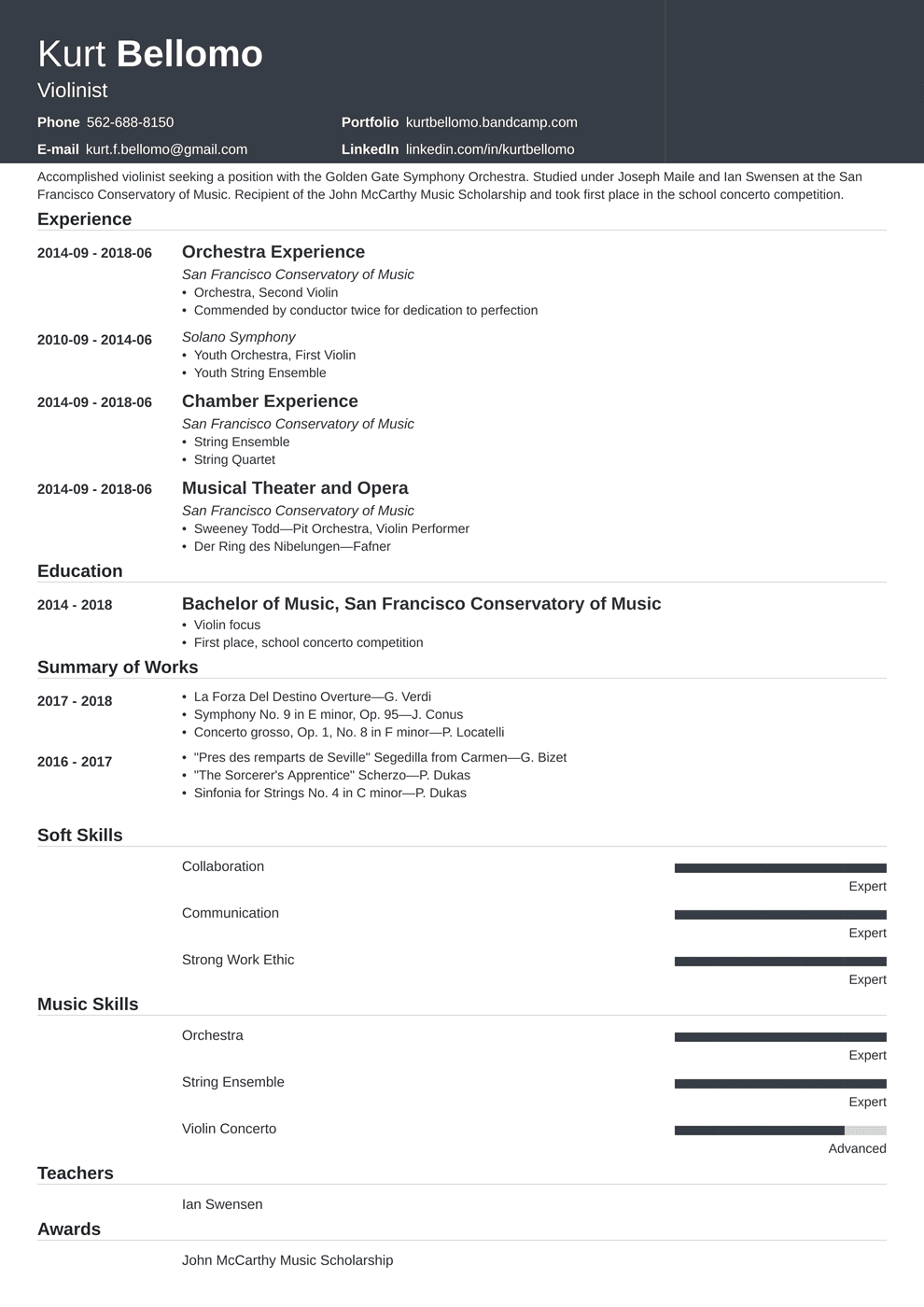 Music Resume: Samples and Complete Writing Guide [20+ Examples]