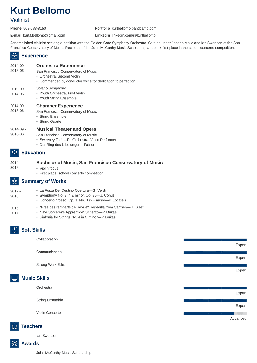 Music Resume Samples And Complete Writing Guide 20 Examples