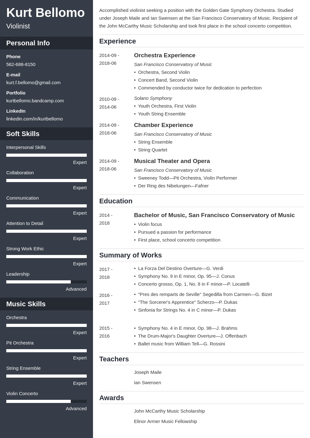 music resume example template cascade