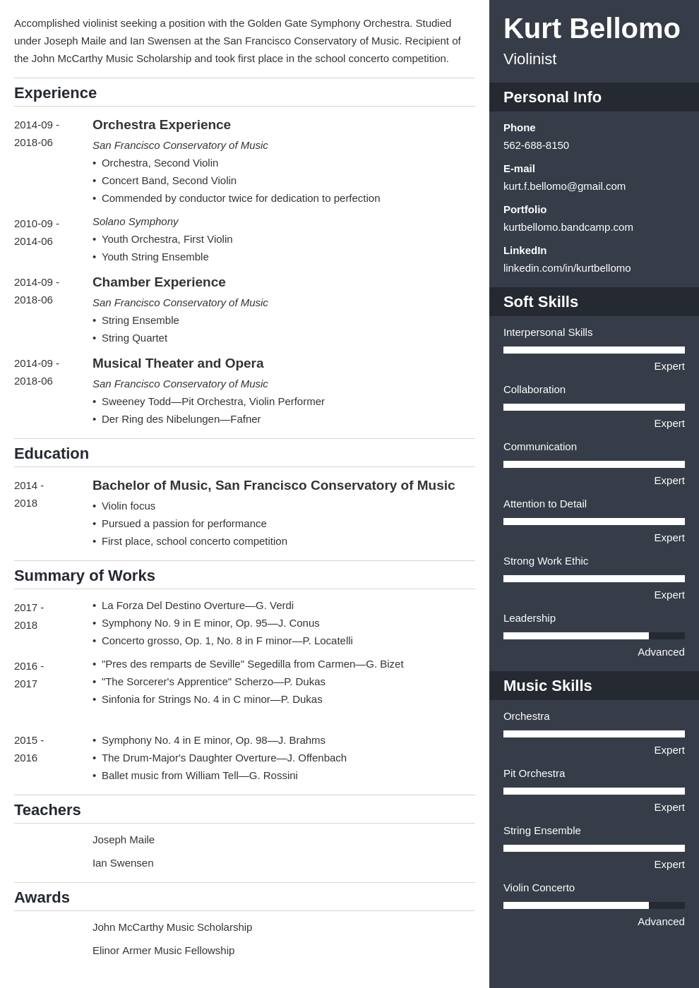music resume example template enfold