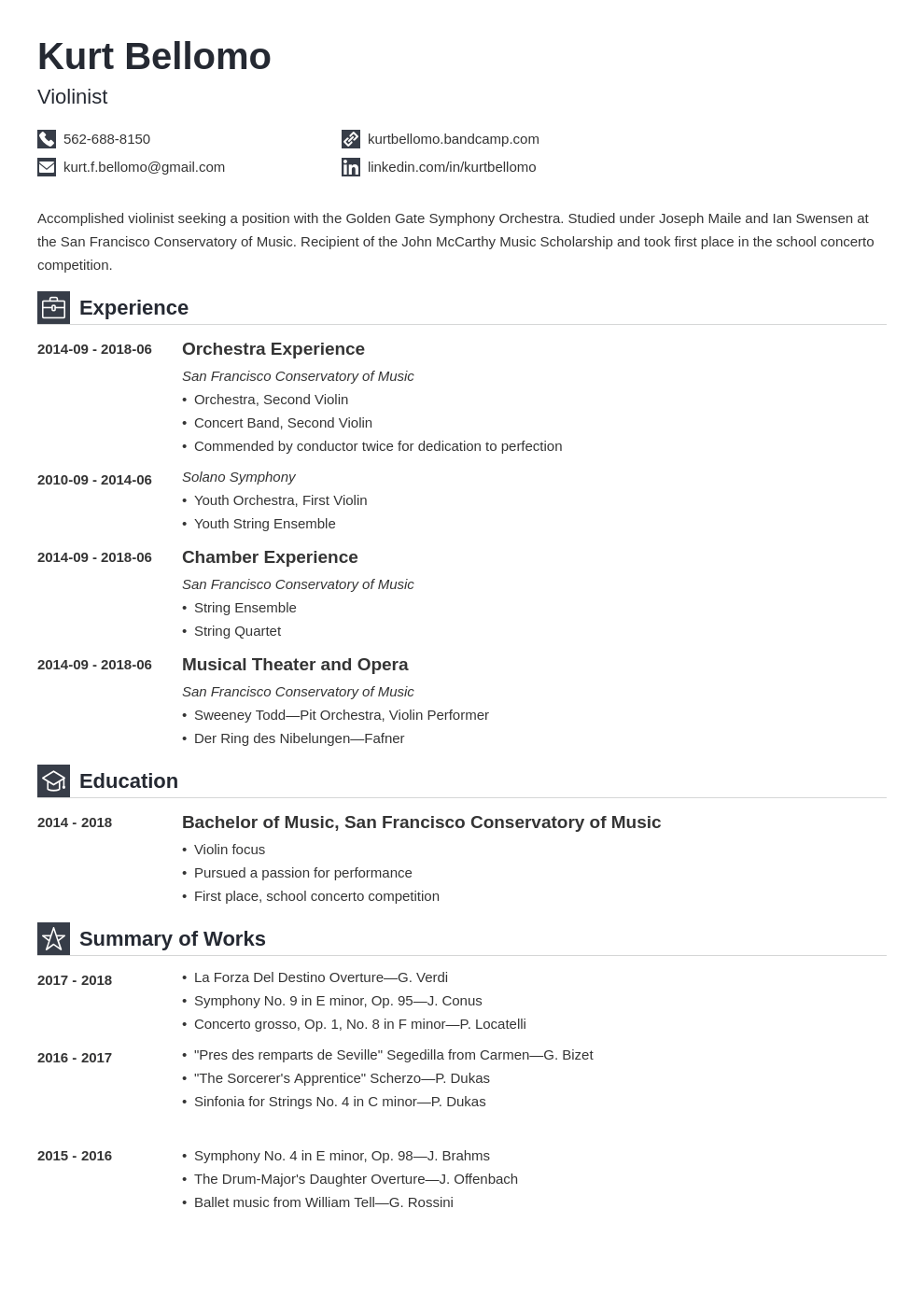 music resume example template iconic
