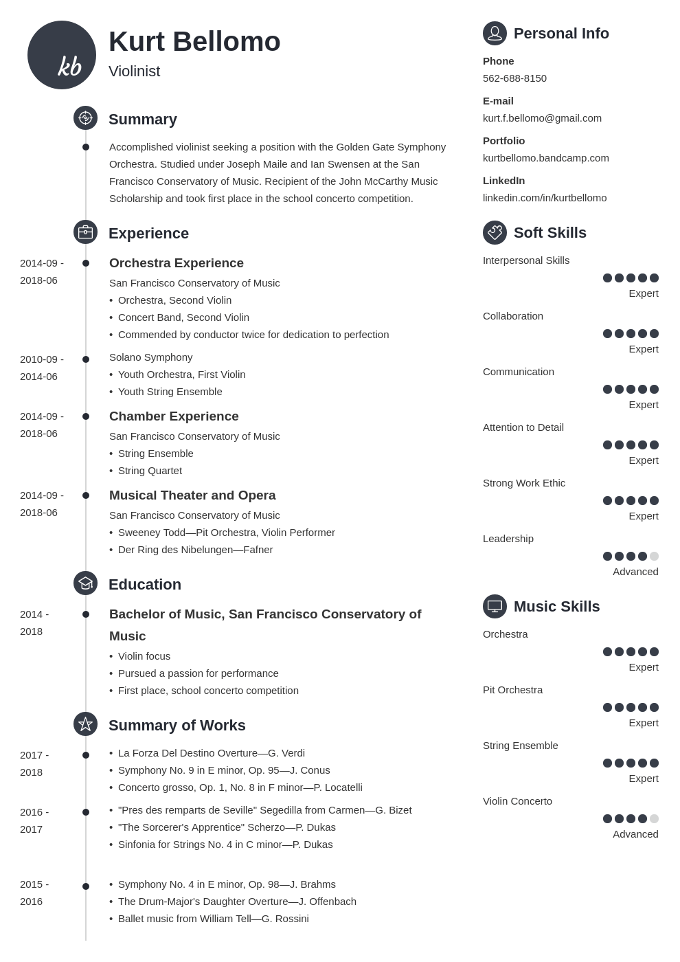 music resume example template primo