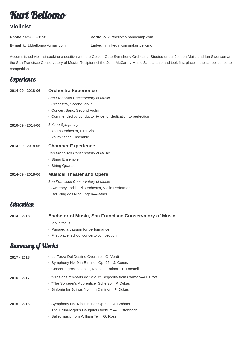 music resume example template valera
