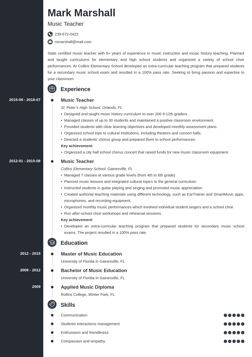 music teacher resume example template concept