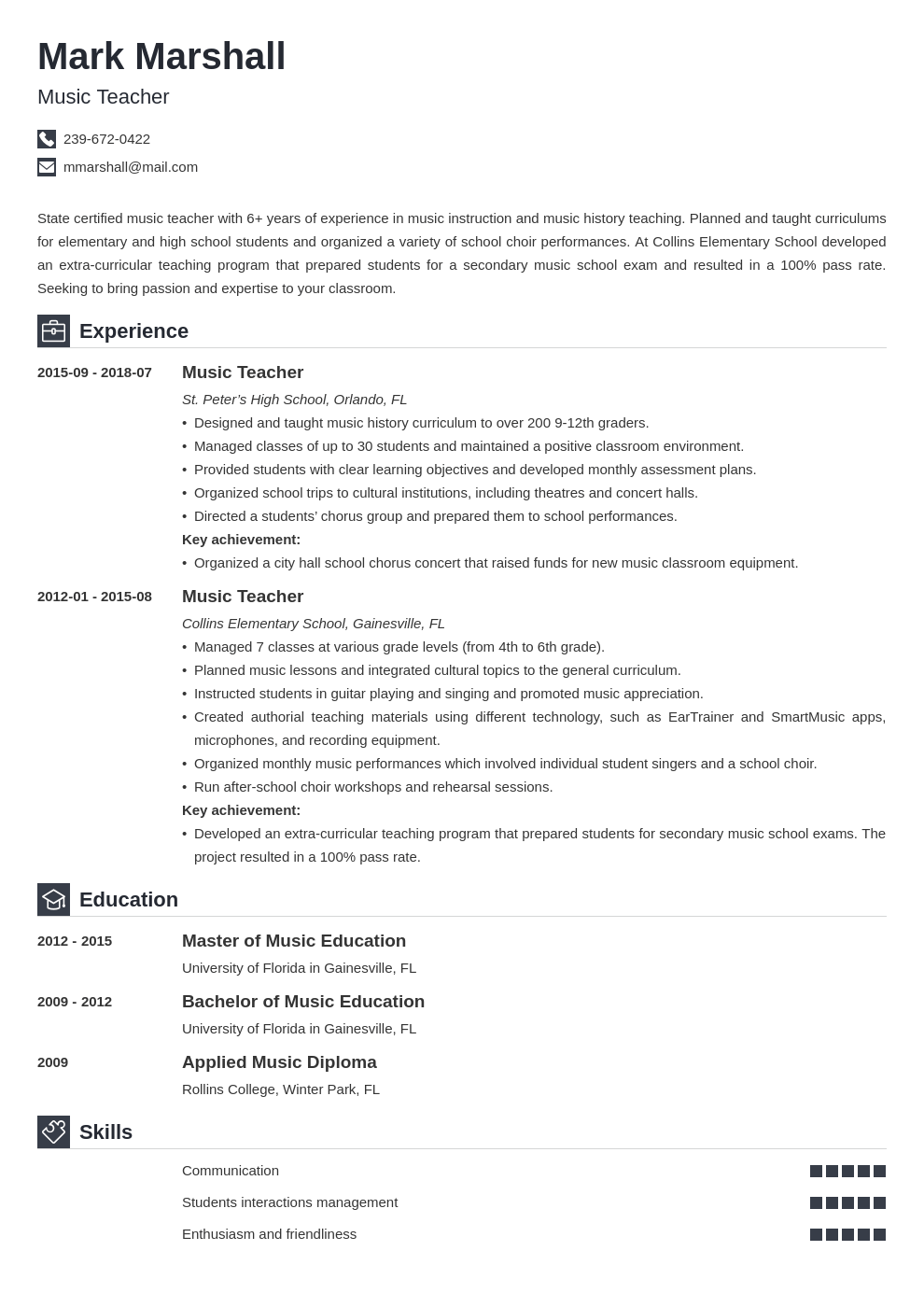 music teacher resume example template iconic