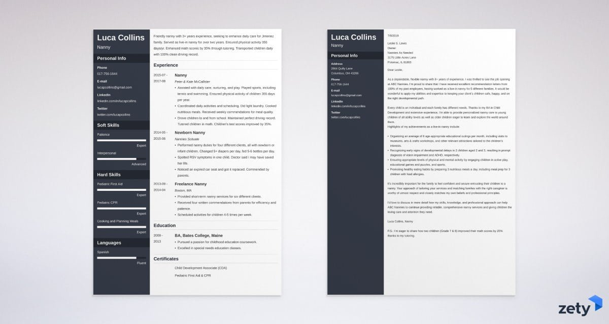 nanny resume and cover letter set