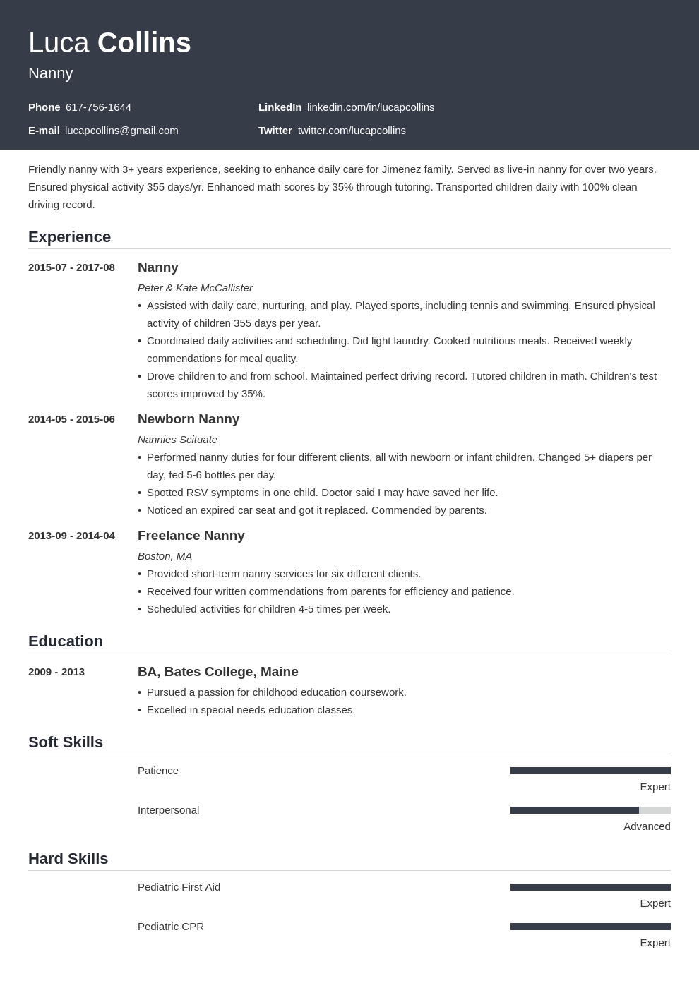 nanny resume example template influx