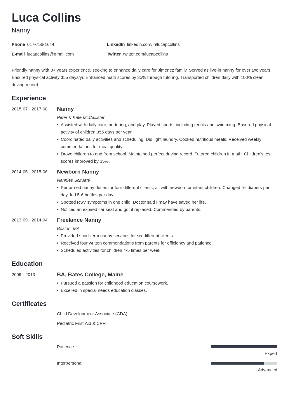 nanny resume example template minimo