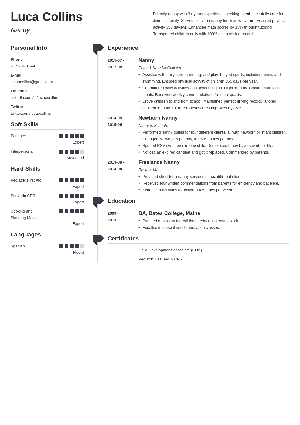 nanny resume example template muse