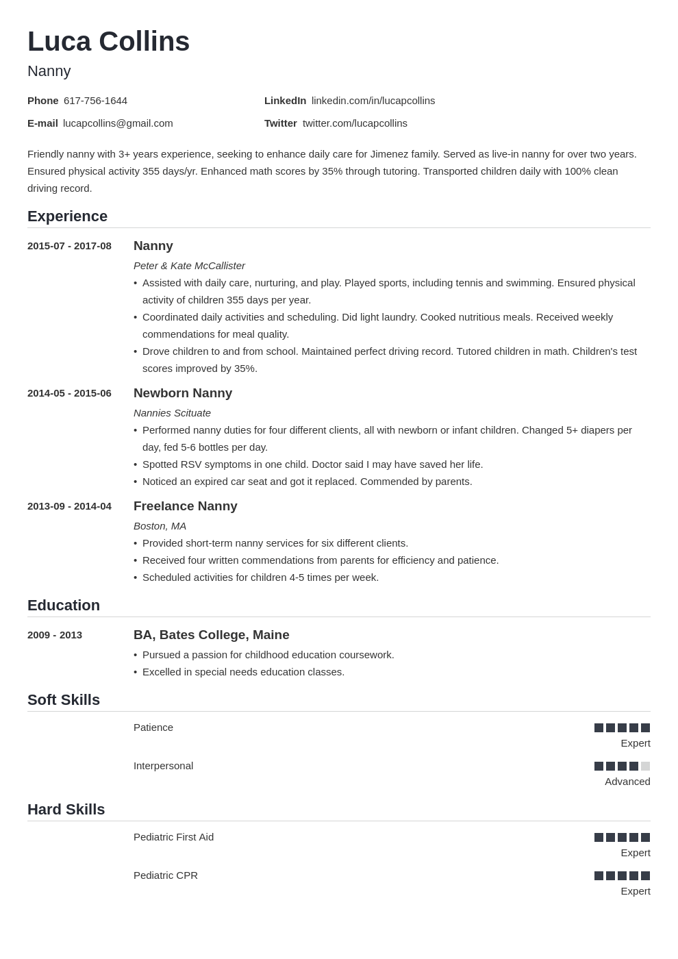 nanny resume example template nanica