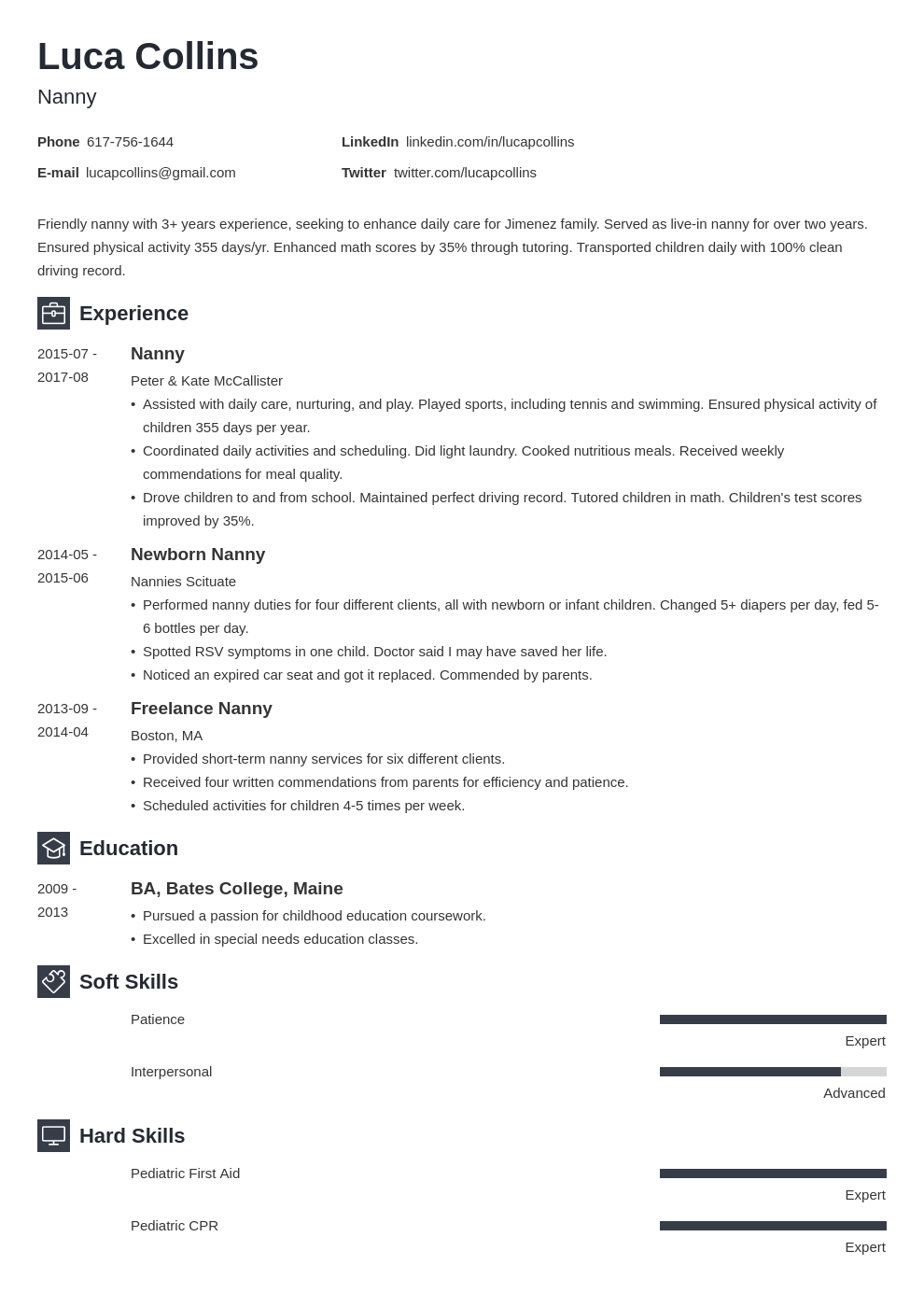 nanny resume example template newcast