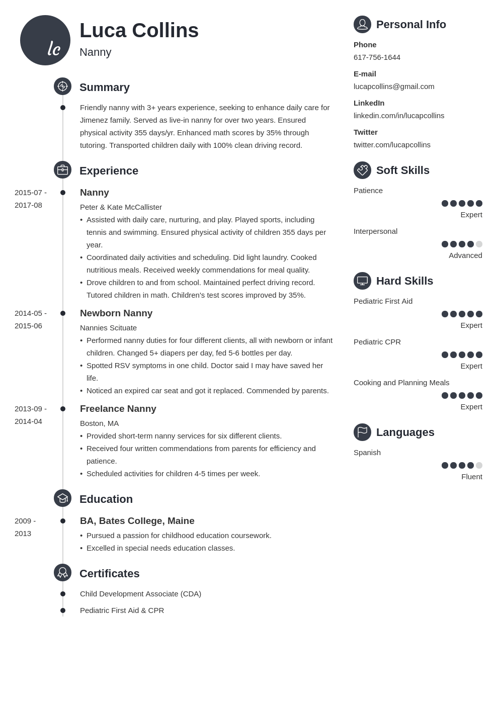 nanny resume example template primo