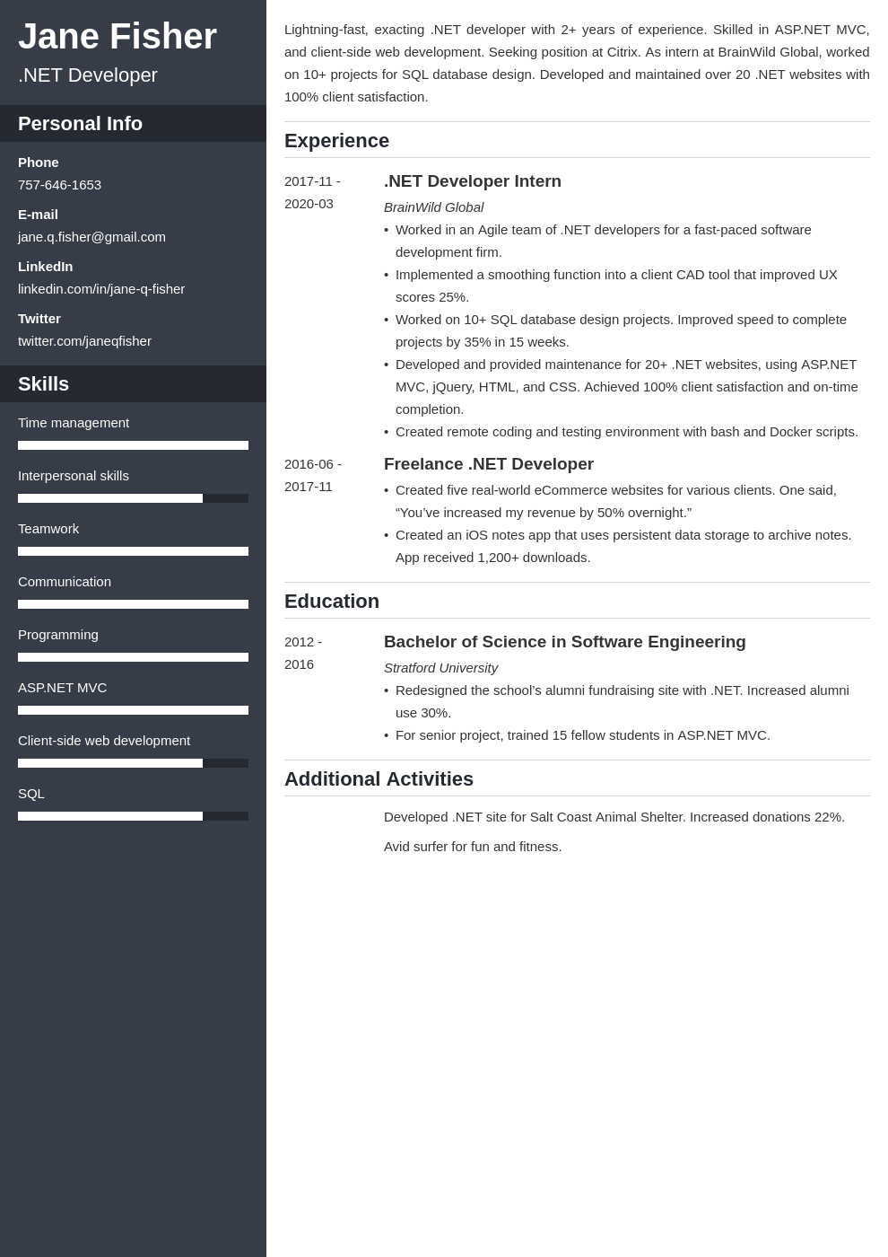 net developer resume example template cascade