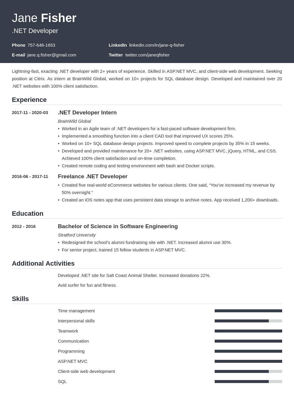 net developer resume example template influx