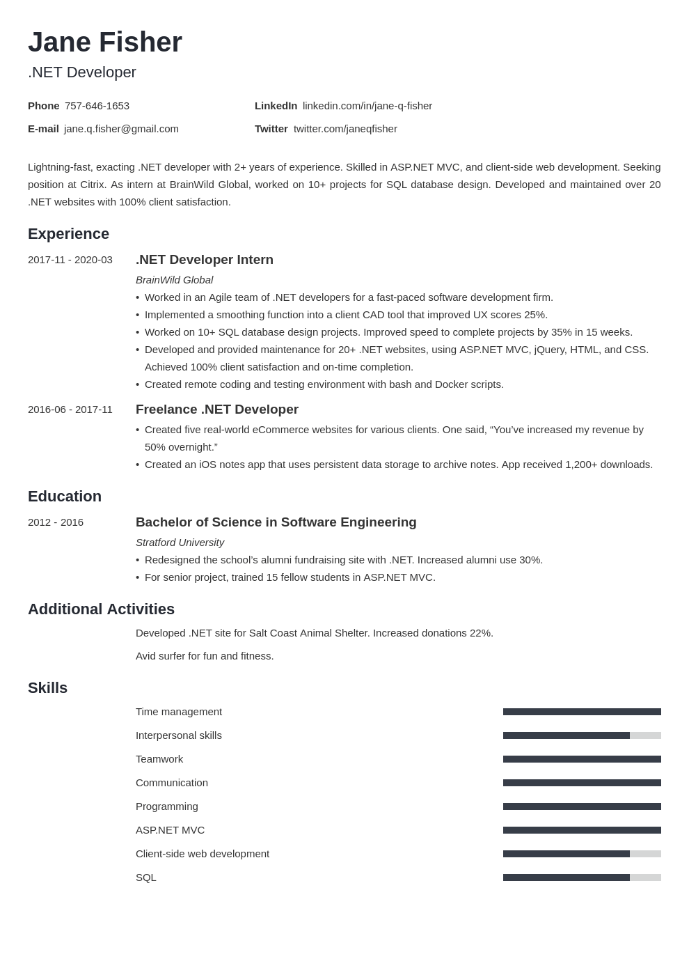 net developer resume example template minimo