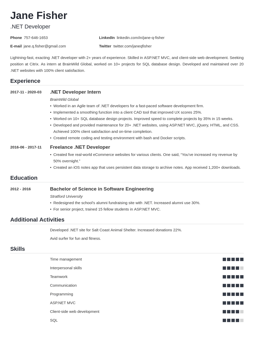 net developer resume example template nanica