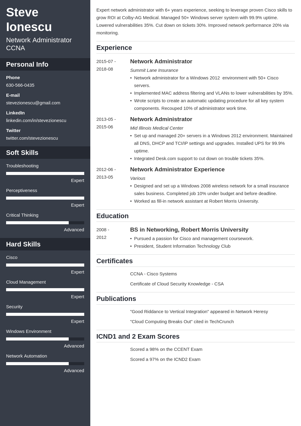 network administrator resume example template cascade