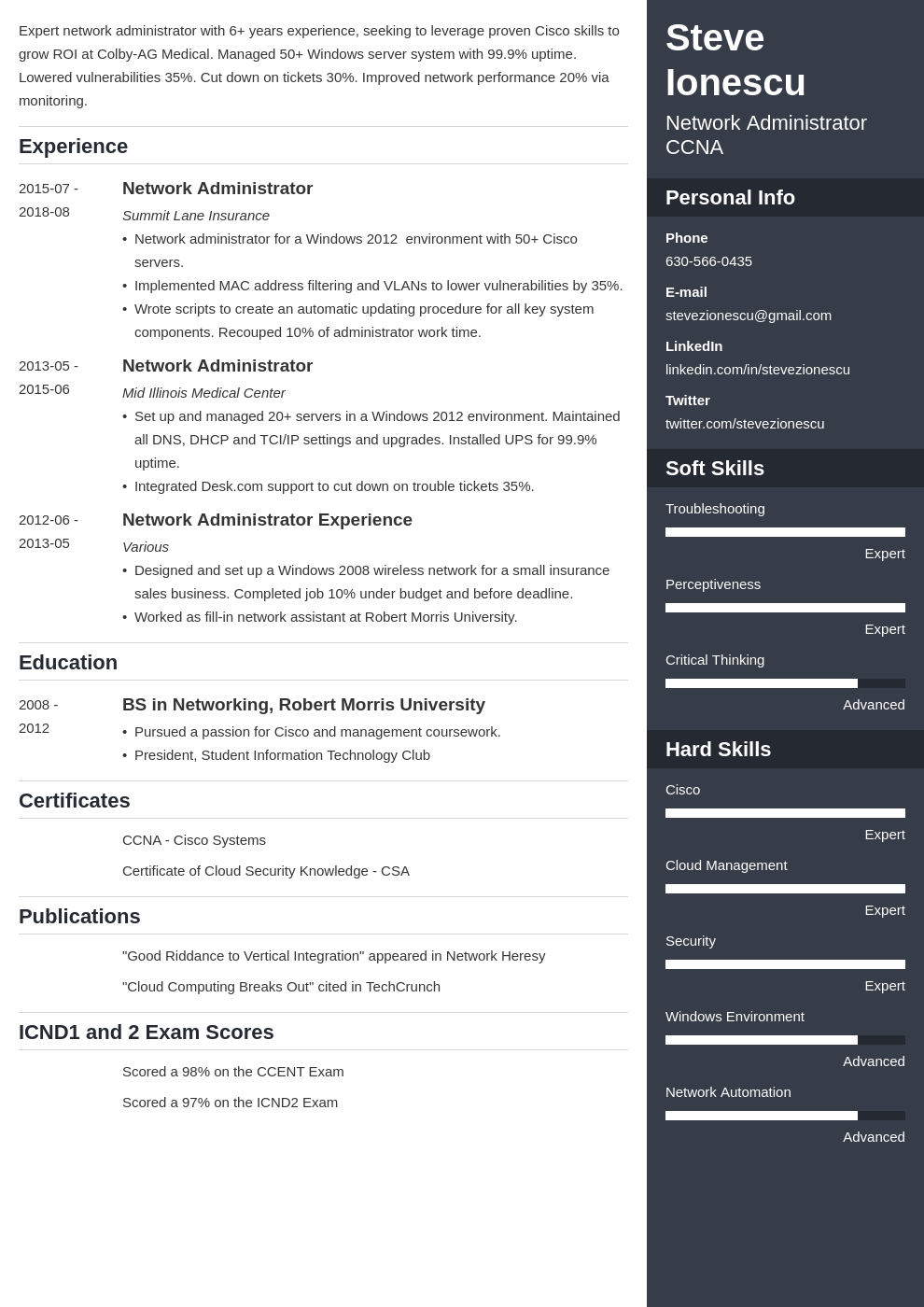 network administrator resume example template enfold