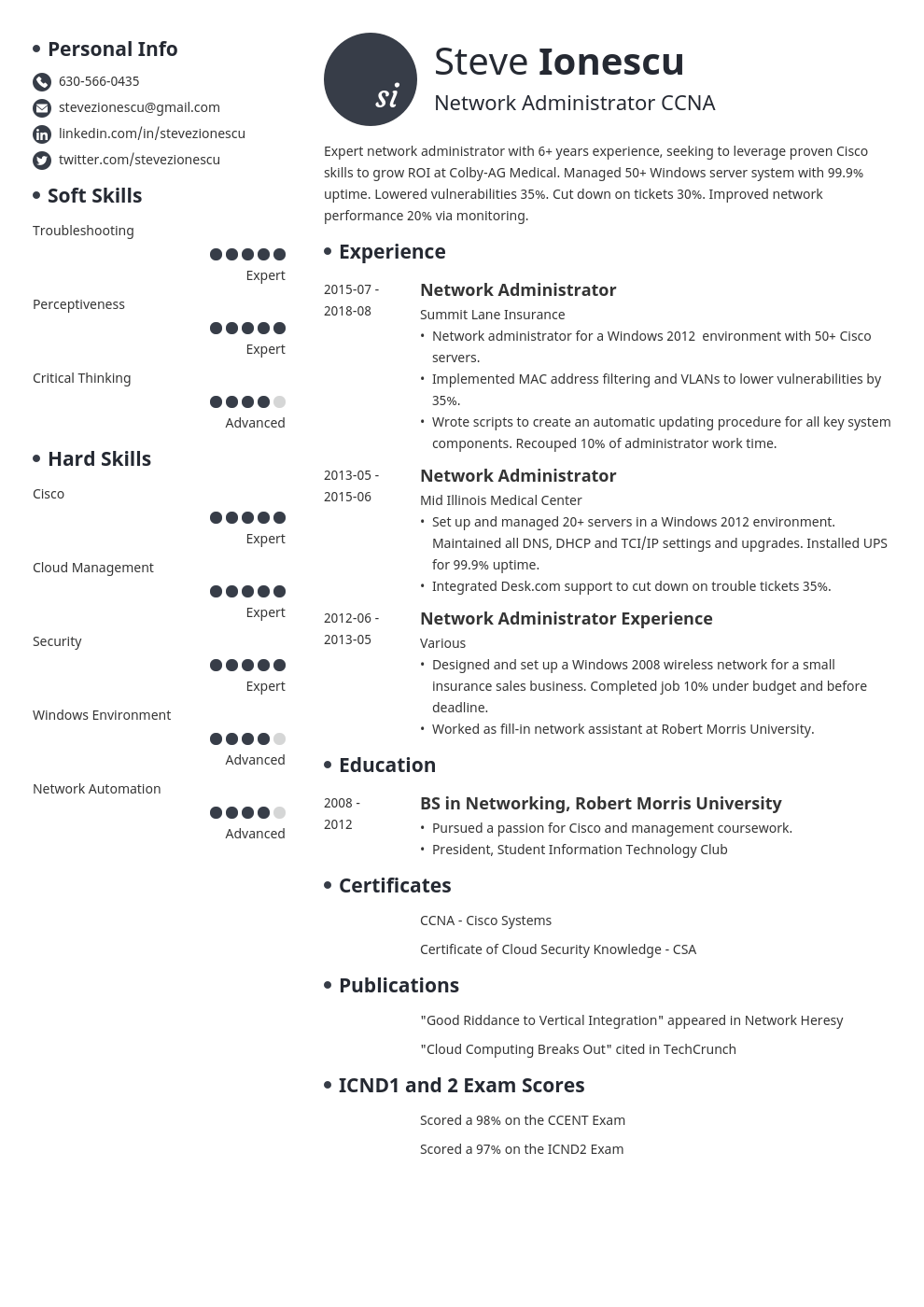network administrator resume example template initials