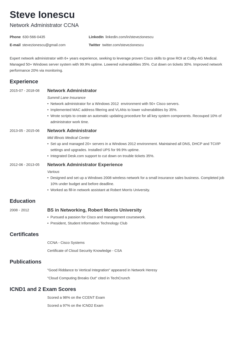 network administrator resume example template minimo