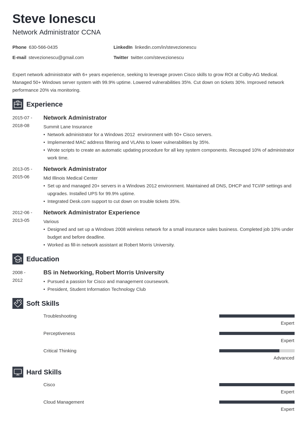 network administrator resume example template newcast