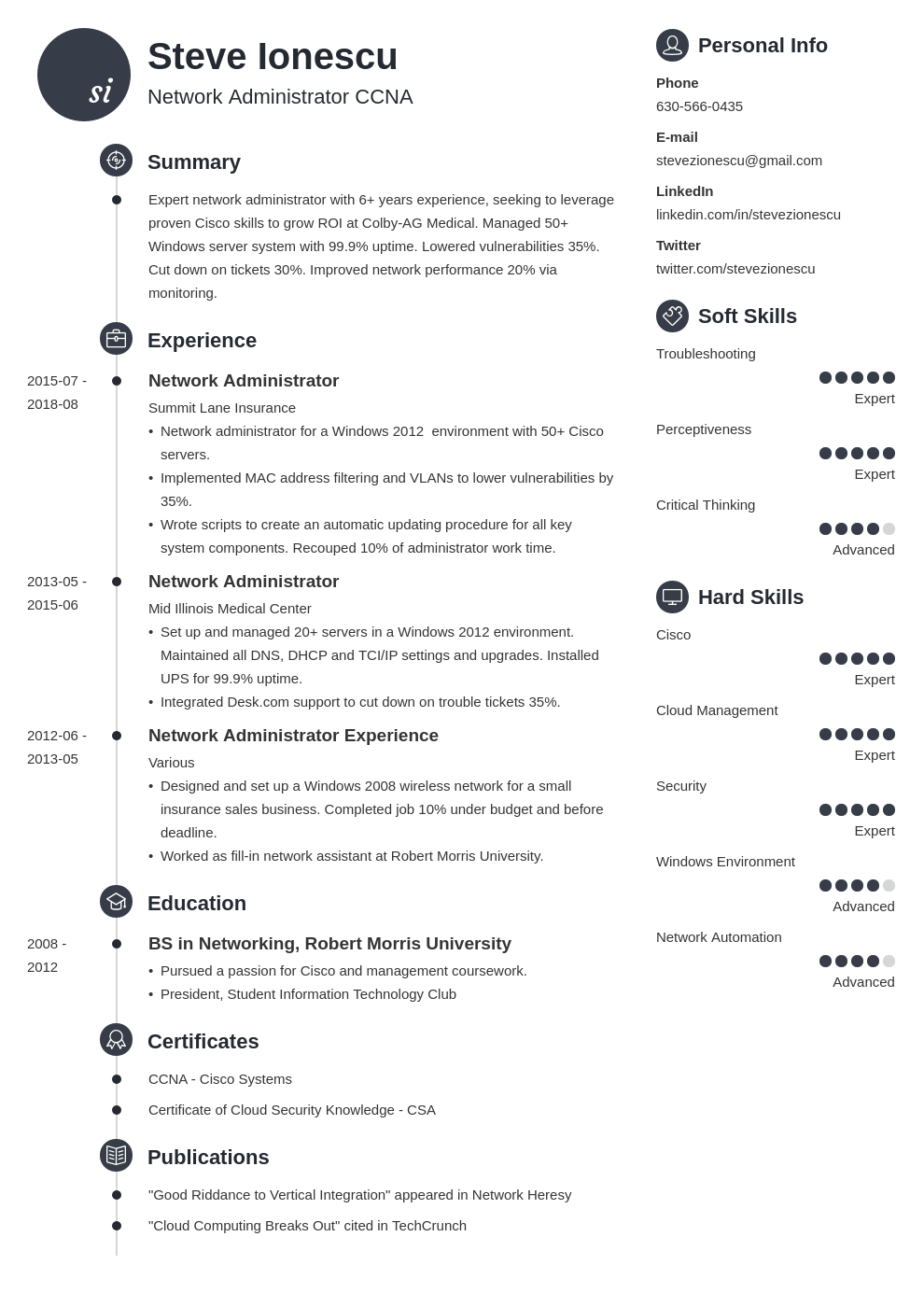 network administrator resume example template primo