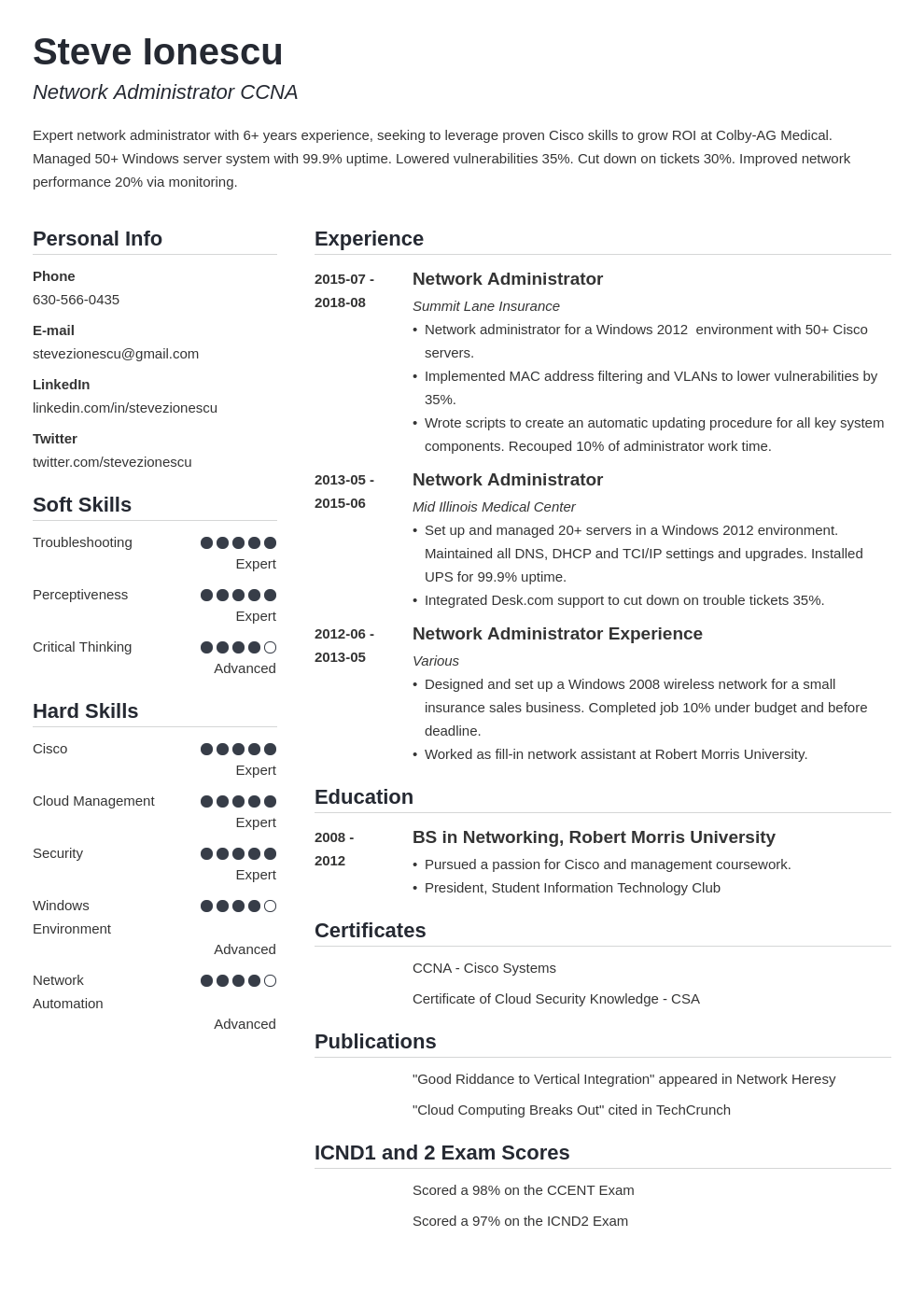 network administrator resume example template simple