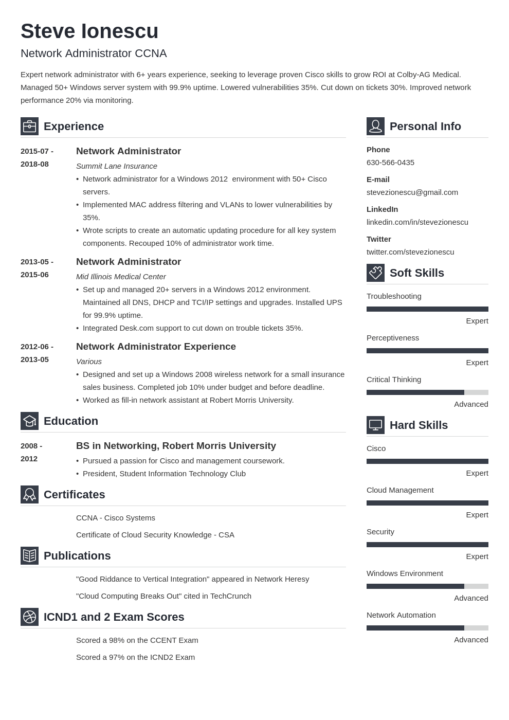 network administrator resume example template vibes