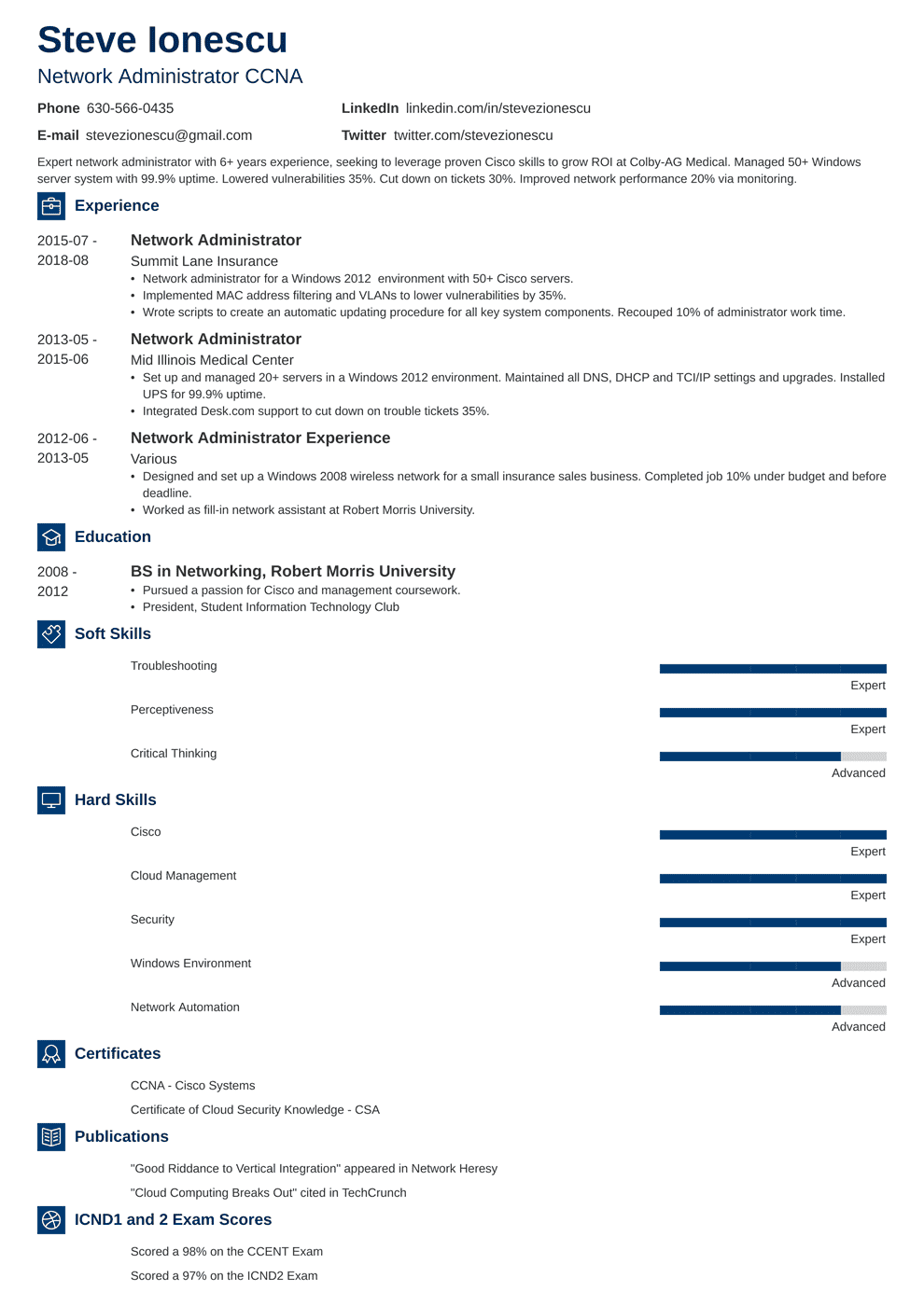 Network Administrator Resume Sample & Writing Guide [+20 ...
