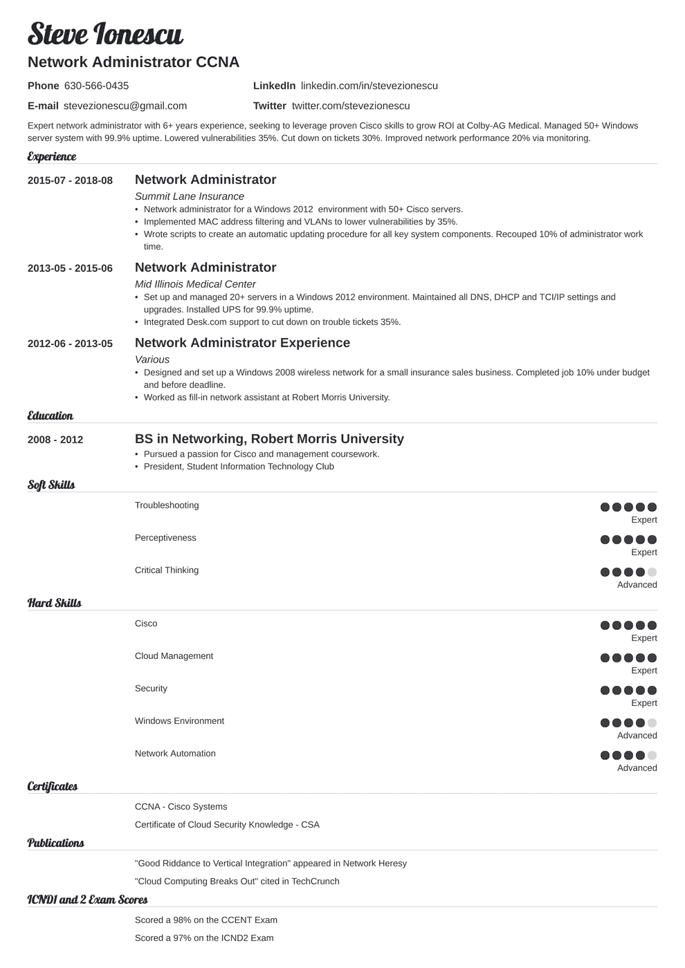 network administrator resume sample with skills  tips