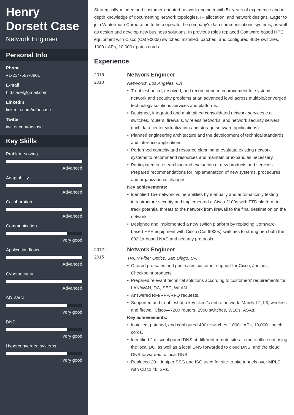 network engineer resume example template cascade