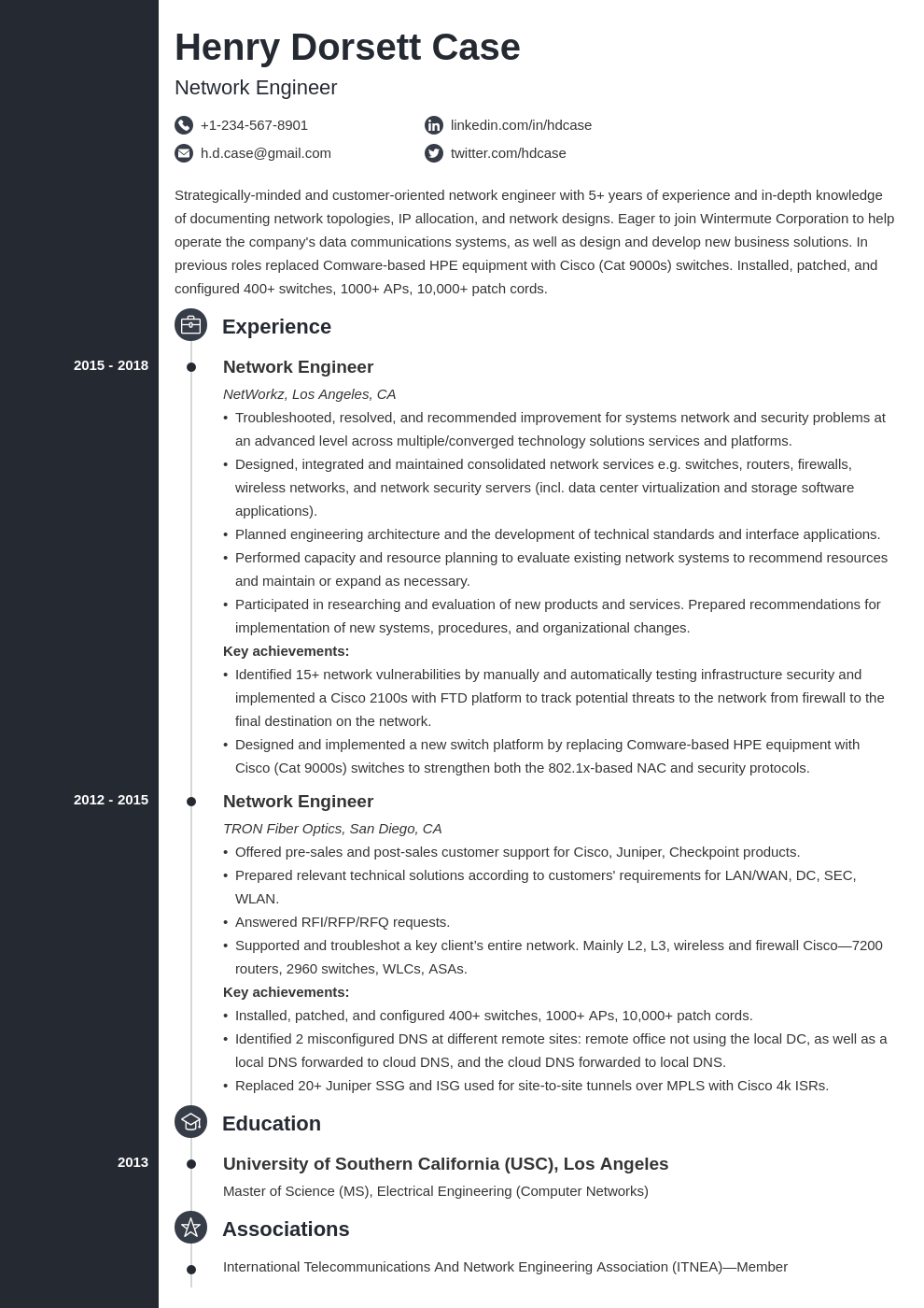 network engineer resume example template concept