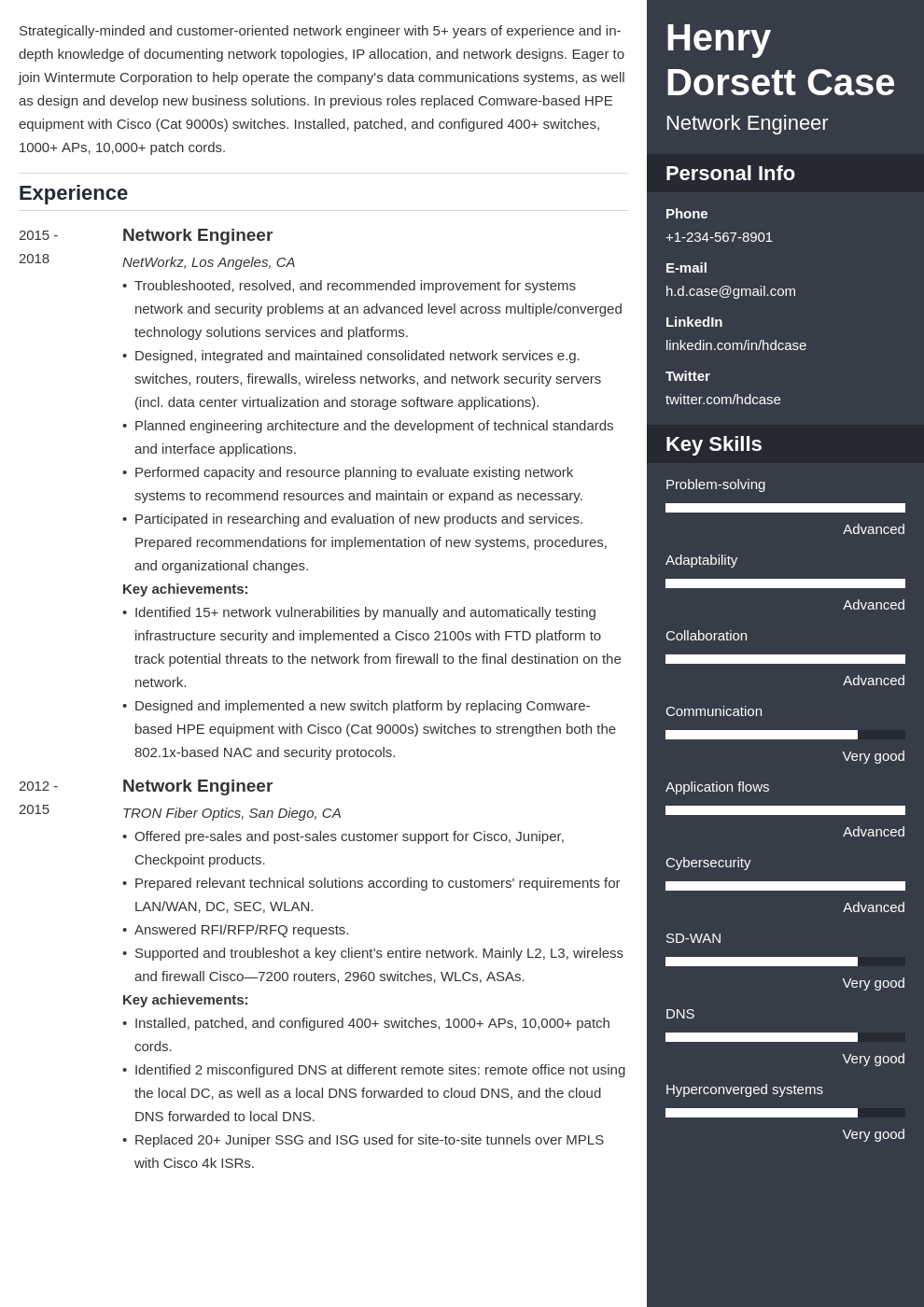 network engineer resume example template enfold