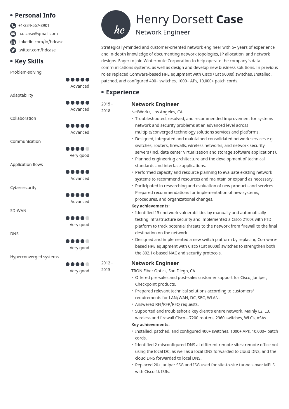 network engineer resume example template initials